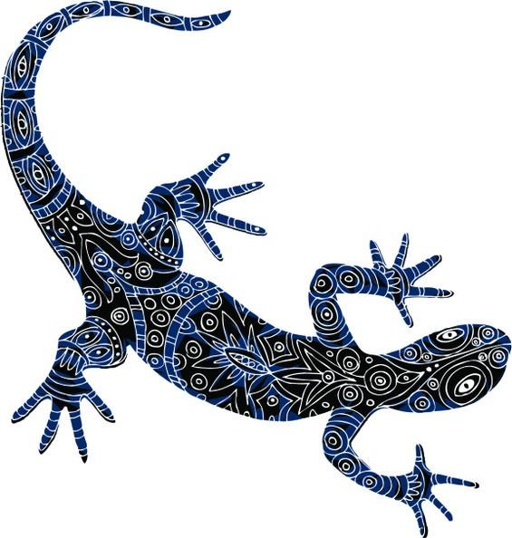 Super black-and-blue lizard with white line ornament tattoo design