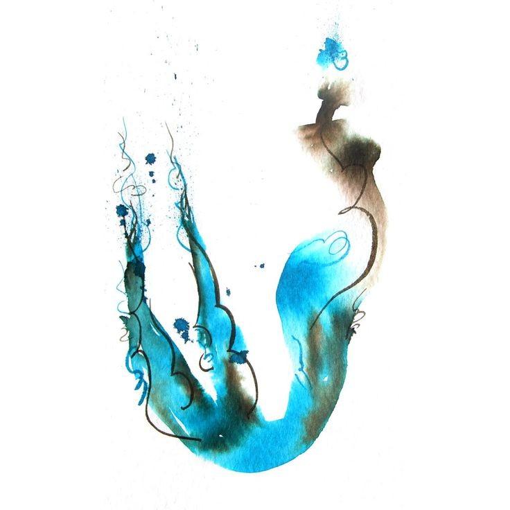 Super black-and-blue watercolor mermaid tattoo design