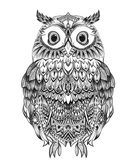 Super black-and-white patterned owl tattoo design