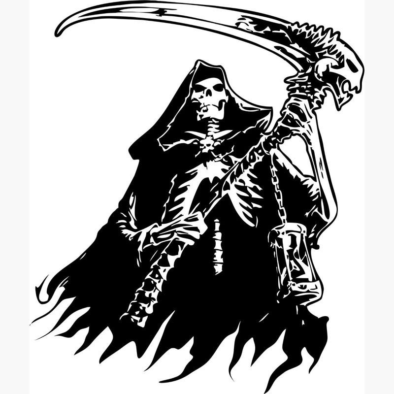 Super black-ink death keeping a huge scythe tattoo design