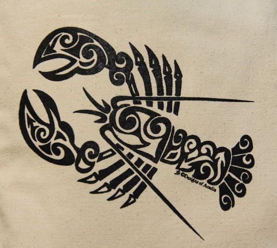 Super black-ink tribal water animal tattoo design