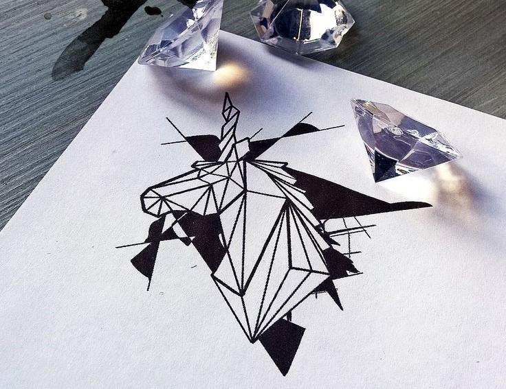 Super black-inl geometric unicorn head tattoo design