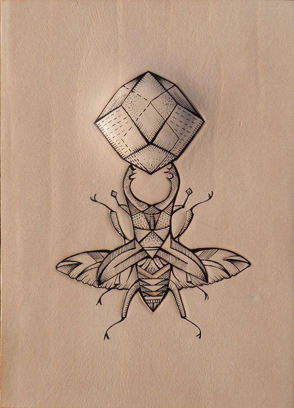 Super black-line bug keeping 3D polygon tattoo design