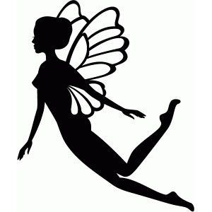 Super black flying fairy with white wings tattoo design