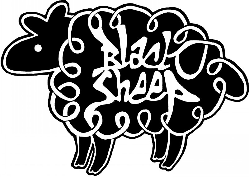 Super black sheep with white quote inside tattoo design