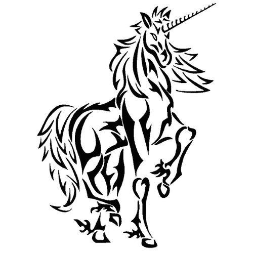 Super black tribal-style unicorn in full growth tattoo design