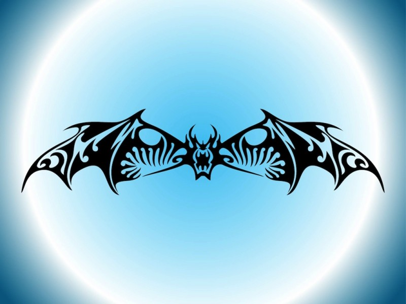 Super black tribal bat tattoo design