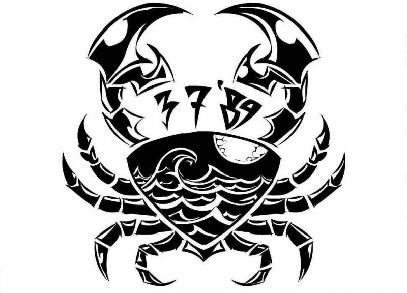 Super black tribal crab with wave print tattoo design