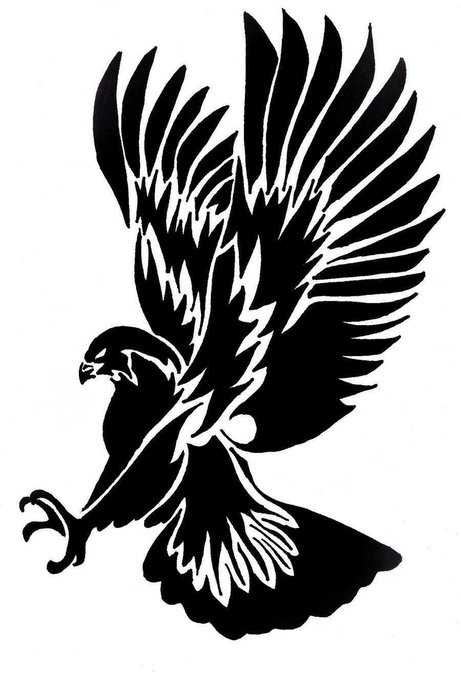 Super black tribal flying eagle tattoo design