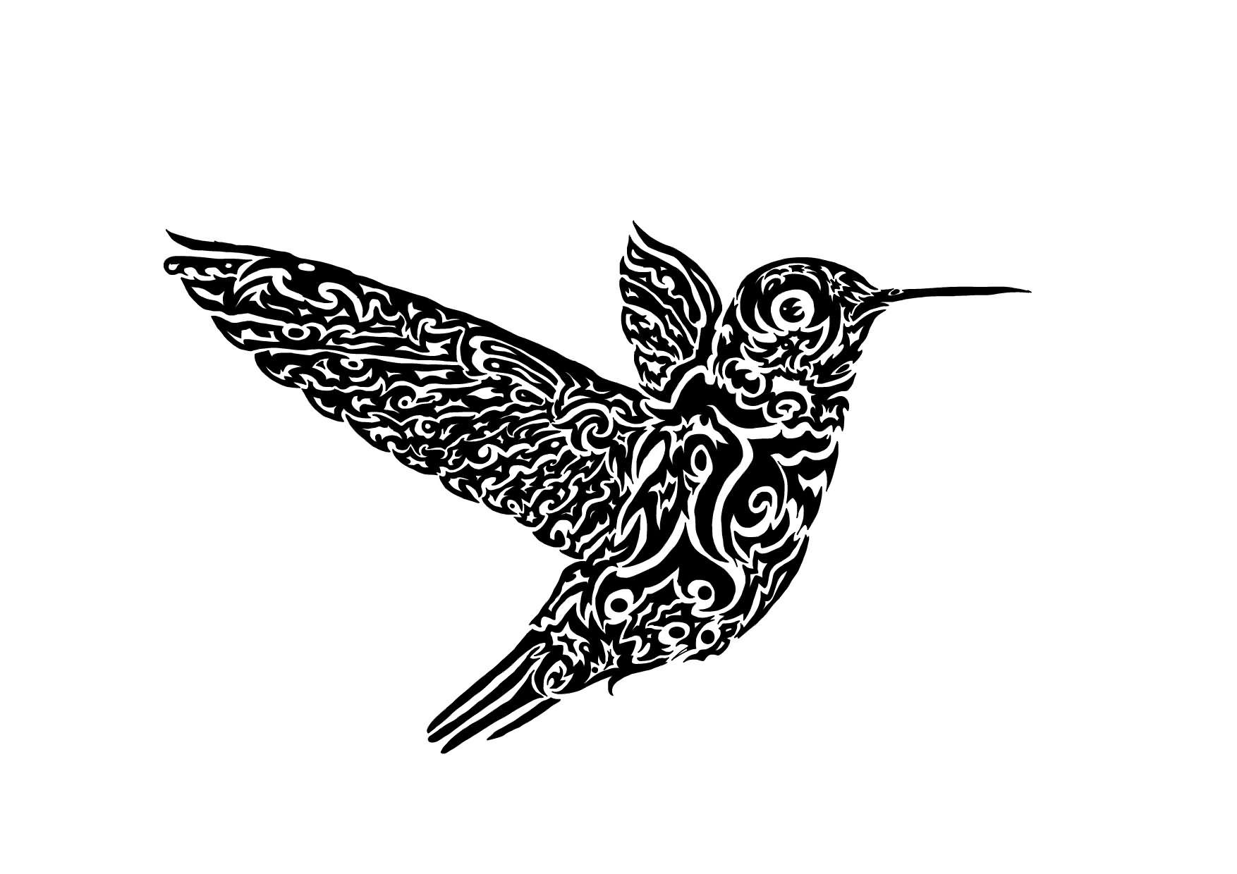 Super black tribal hummingbird tattoo design
