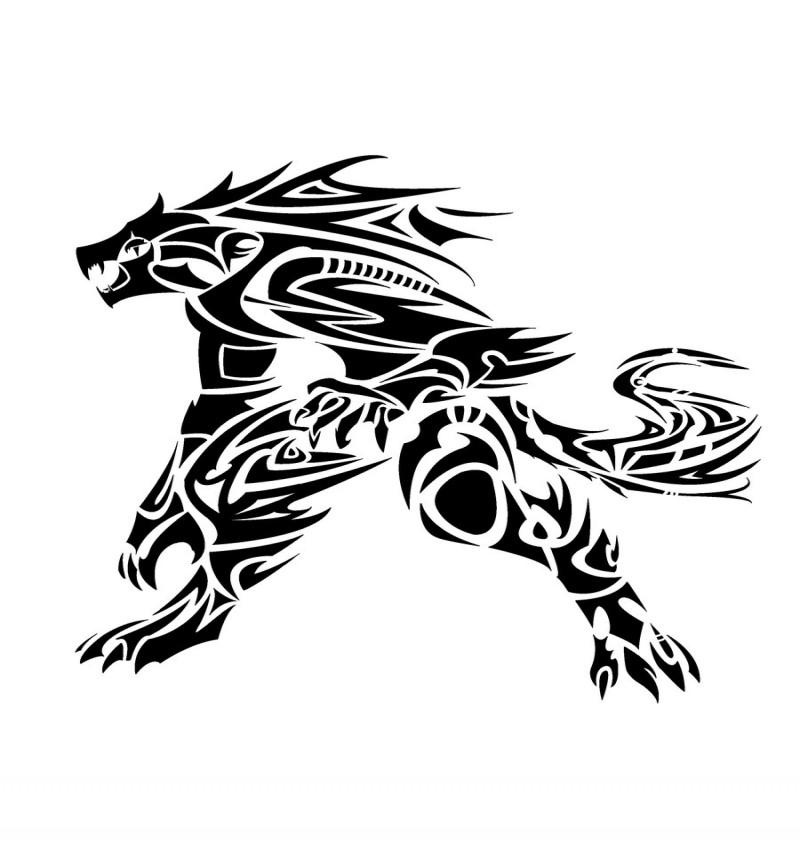 Super black tribal style werewolf tattoo design