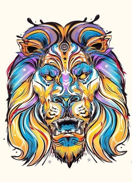 Super blue-and-yellow striped wild animal portrait tattoo design