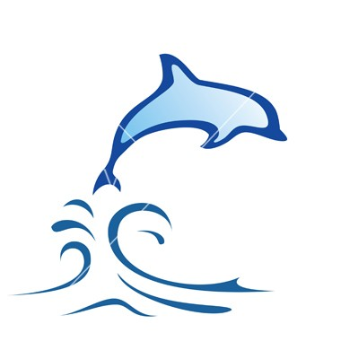 Super blue dolphin jupming from water tattoo design