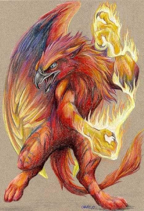Super brigth red griffin in flame tattoo design