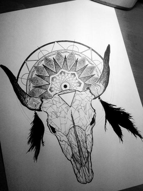 Super bull skull with feathers and mandala tattoo design