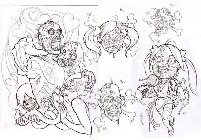 Super cartoon outline zombie tattoo designs