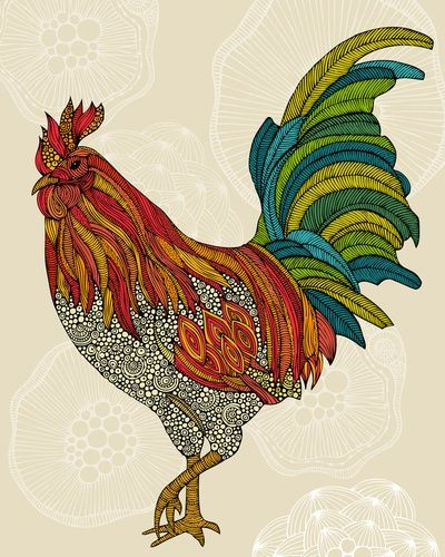 Super colored rooster with grey ornate stomach tattoo design
