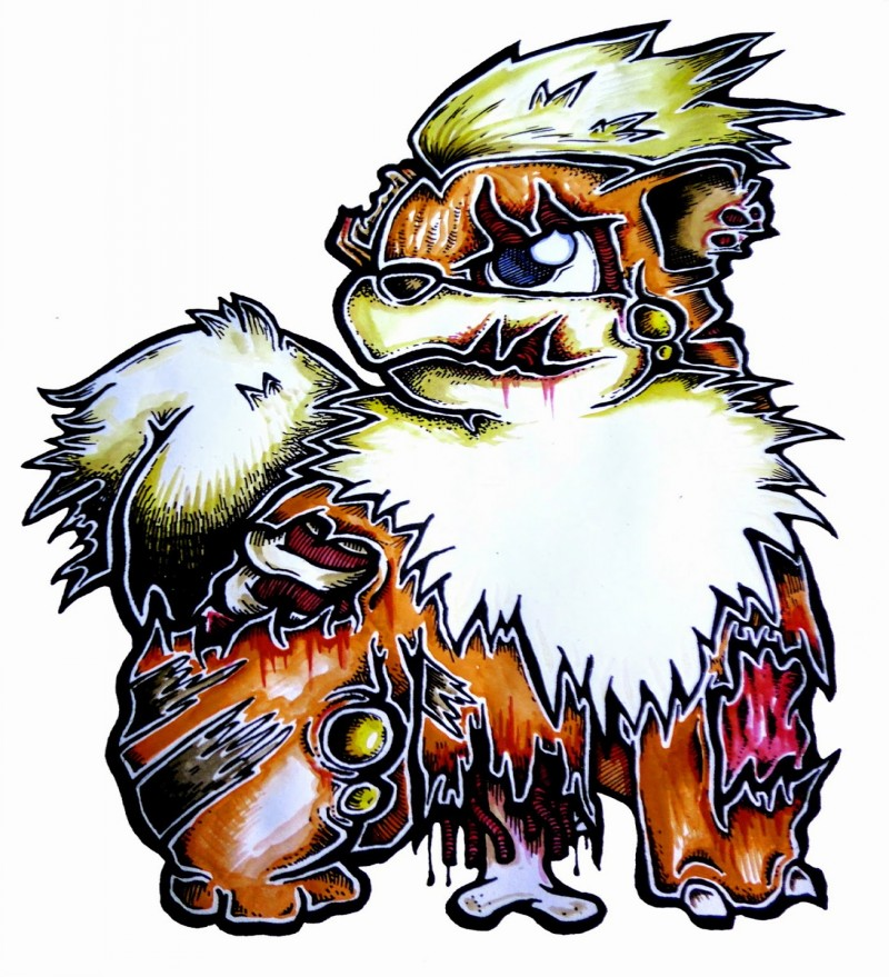 Super colorful-fur zombie pokemon tattoo design
