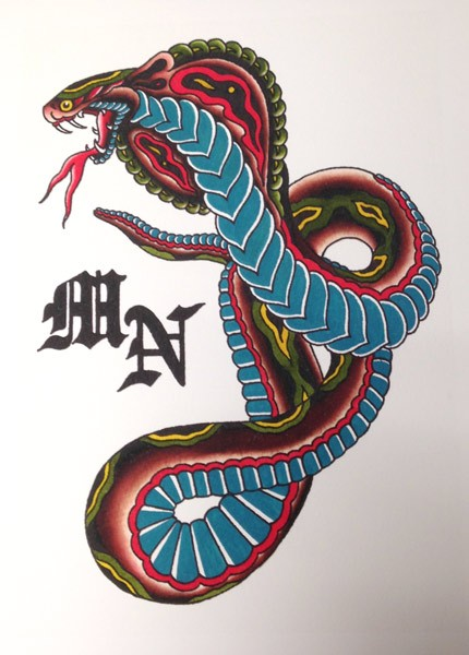 Super colorful blue-belly snake tattoo design