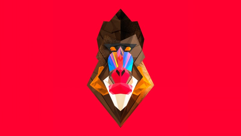Super colorful geometric-style baboon head tattoo design