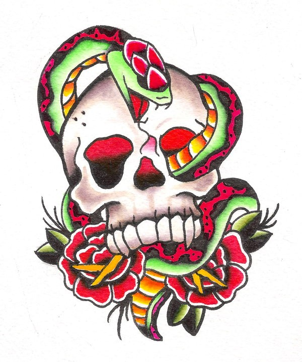 Super colorful old school skull and snake tattoo design by Jaimie13