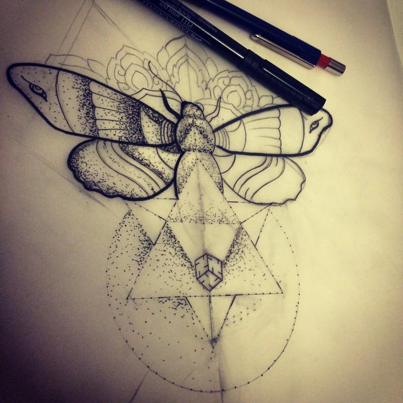 Super dotwork moth with geometric elements tattoo design