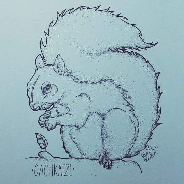 Super dotwork squirrel looking on tiny growing leaf tattoo design