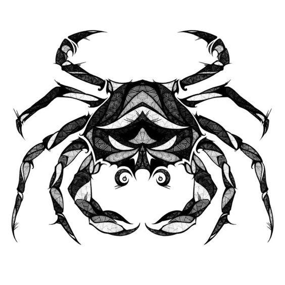 Super geometric-line printed crab tattoo design