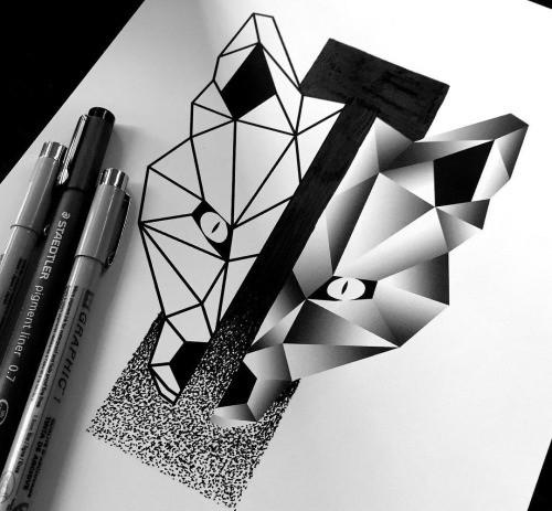 Super geometric fox muzzle with thick dotwork stripe tattoo design