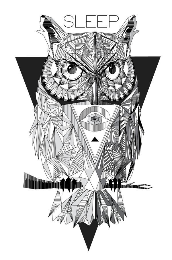 Super geometric owl on black triangle background tattoo design