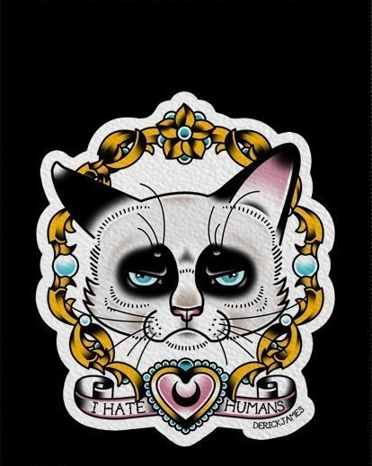 Super grumpy cat portrait in golden frame tattoo design