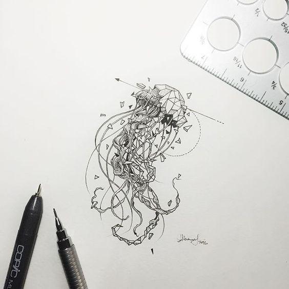 Super half-geometric jellyfish pierced with thin arrow tattoo design