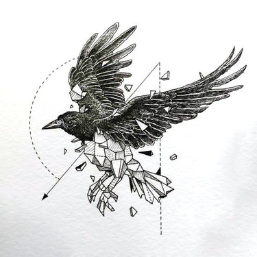 Super half-geometric raven tattoo design