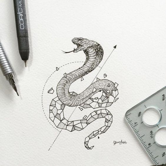 Super half-geometric snake tattoo design