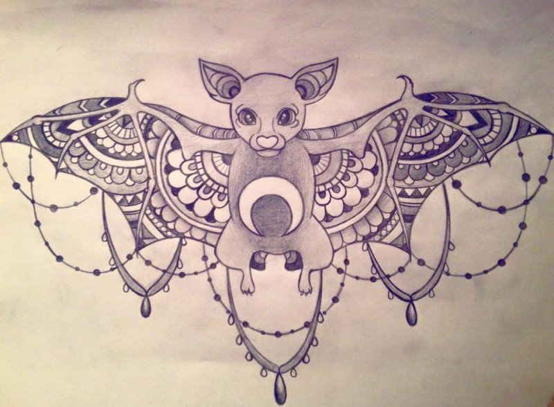 Super ornate-winged bat with lace decoration tattoo design by Sapphire Batt1
