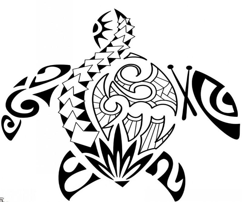 Super polynesian turtle tattoo design