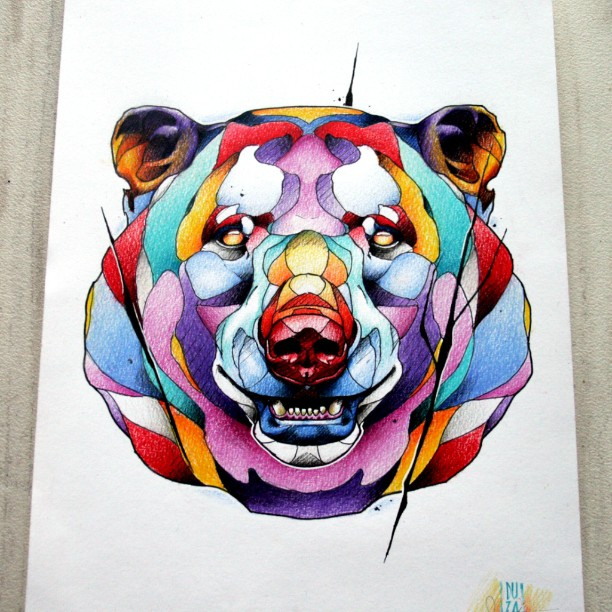Super rainbow-color bear head tattoo design