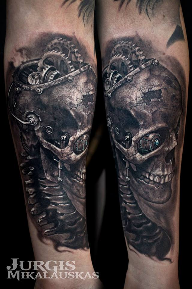 Super realistic biomechanical skull tattoo