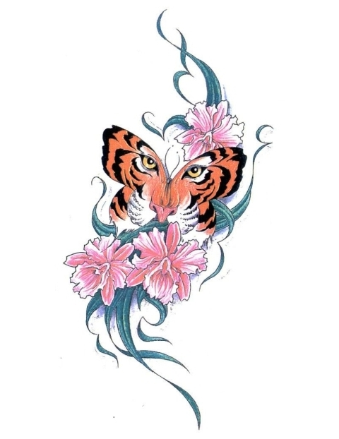 super tiger butterfly and swirly stem flowers tattoo design. Black Bedroom Furniture Sets. Home Design Ideas