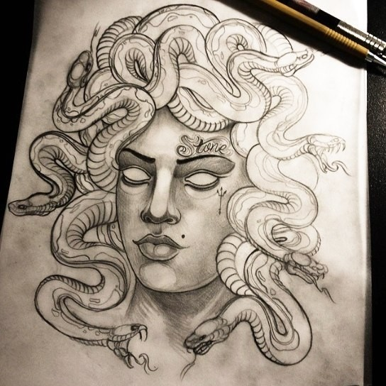 Super traditional grey-ink blind medusa gorgona tattoo design