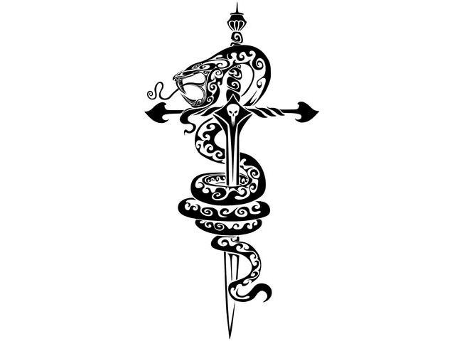 super tribal snake twining around sword tattoo design
