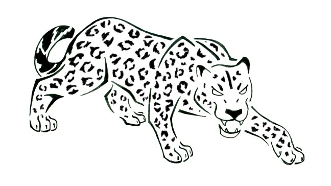 Super uncolored jaguar stealing up to its prey tattoo design by Female Warrior