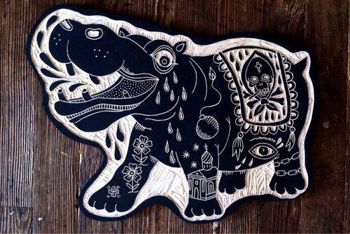 Super white-ink hippo with pretty ornament tattoo design
