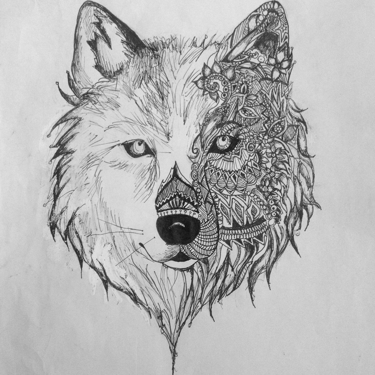 Super wolf muzzle with floral ornament tattoo design