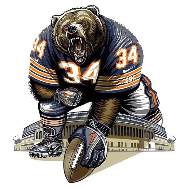 Superb bear player keeping a ball tattoo design