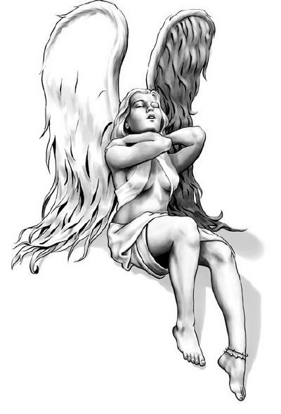 Superb black-and-white female angel with closed eyes tattoo design