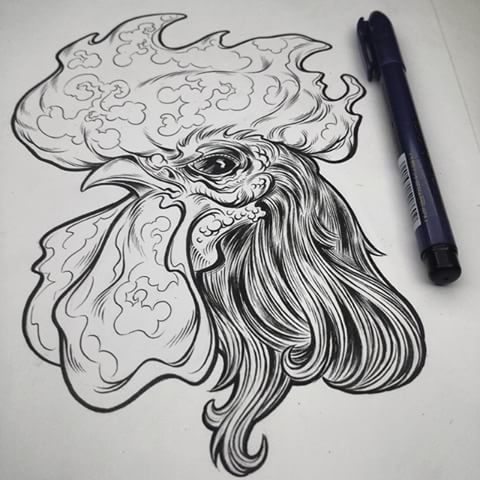 Superb black-and-white rooster head tattoo design