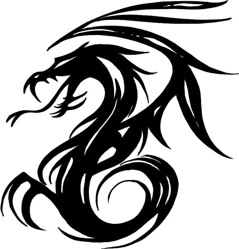 Superb black-ink tribal dragon silhouette tattoo design by Ikkinumtwo