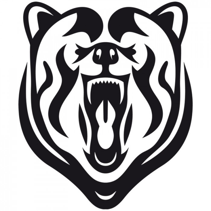 Superb black-ink tribal roaring grizzly tattoo design