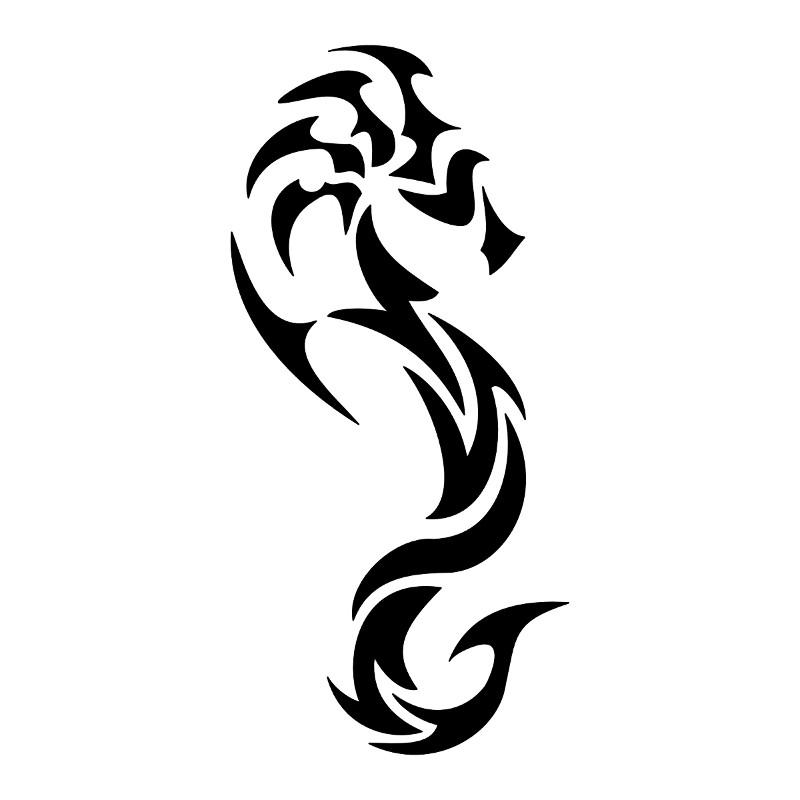 Superb black-ink tribal seahorse tattoo design